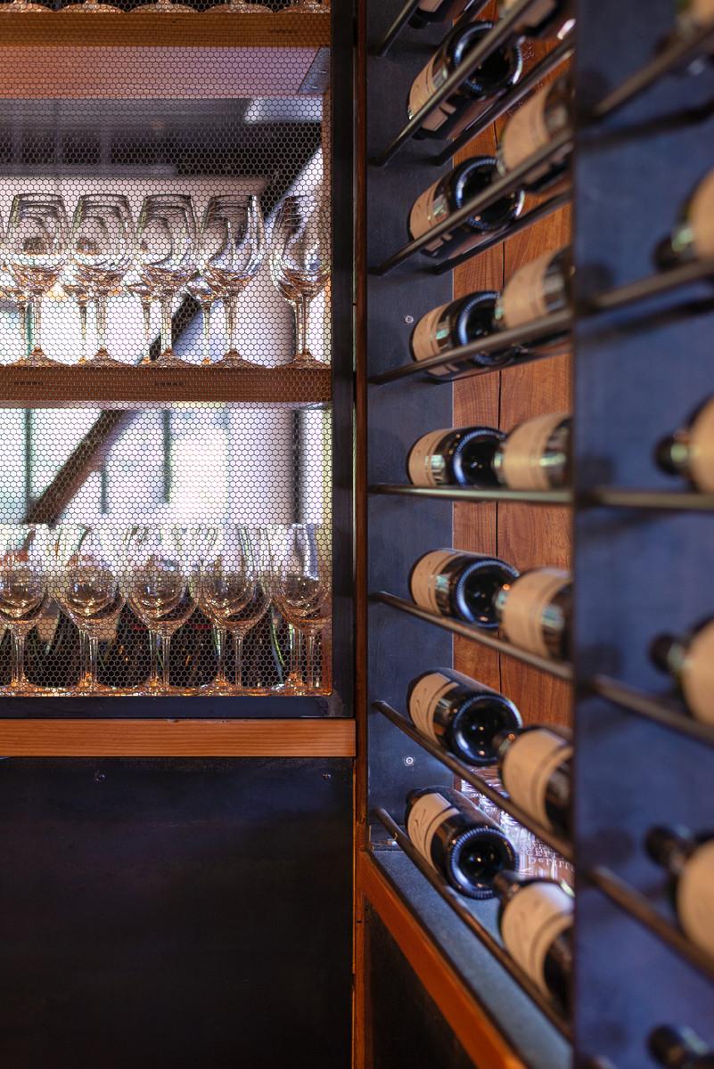 Wine Rack Steel Details and Hexagonal Screen